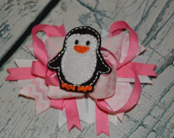 CLEARANCE Winter Penguin Hairbow Embroidered Hair Bow Center Chevron