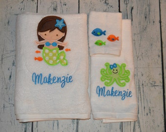 PERSONALIZED Childrens Bath Towel Set Monogrammed Mermaid Theme