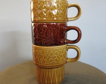 Set of Three Vintage Brown and Gold Coffee Cups