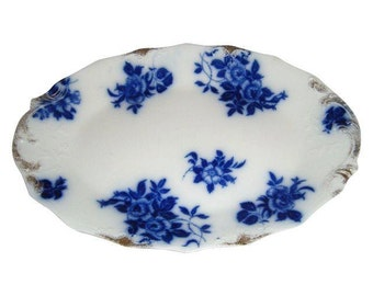"""Antique 1896 English Staffordshire 15"""" Grindley Flow Blue China Platter Gironde Pattern"""