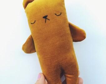 Mustard yellow velveteen mini teddy bear, pocket bear, handmade bear plushie, bear softie, bear stuffed animal, soft bear toy, sleepy bear