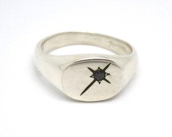 Black Diamond Pinky Ring // Silver Signet Black Star Ring