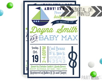 Boy Nautical Baby Shower Invitation - Digital or Printed | Nautical Printable |Nautical Birthday Party Invitation | Anchor Invitation |
