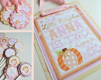 Pink and Gold Glitter Pumpkin Birthday Party Decorations Package Fully Assembled