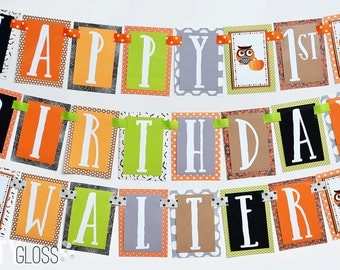Owl and Pumpkin Birthday Party Banner Fully Assembled Decorations