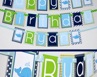 Boy Whale Birthday Party Decorations Banner Fully Assembled | Party Party | Under the Sea | Blue Green Whale Theme | Baby Blue Whale |