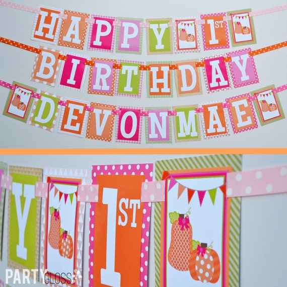 Girly Pumpkin Birthday Party Banner Decorations Fully