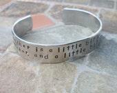 A Grandmother Is A Little Bit Parent - Grandparent Bracelet - Personalized Hand Stamped 1/2 Inch Aluminum Cuff Bracelet