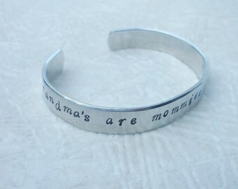 Grandma's Are Mommies With Frosting - Grandparent Bracelet - Personalized Hand Stamped 3/8 Inch Aluminum Cuff Bracelet