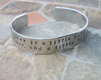 A Grandmother Is A Little Bit Parent - Grandparent Bracelet - Personalized Hand Stamped 1/2 Inch Aluminum Cuff Bracelet