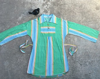 1970s Vintage Tunic Top - Striped Tunic Top with Wooden Toggle Buttons - Stripe Blouse Top - Stripes Stripes - Long Top - Boho - 34 Bust