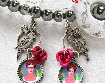 Frida Kahlo my Parrots and me earrings unique new design dia de los muertos Mexico folk altered art aretes mexican