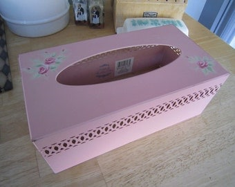 Pink Simply Shabby Chic Metal Tissue Box Cover
