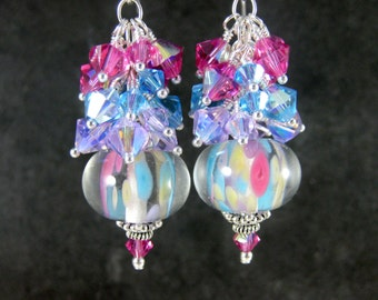 Colorful Pastel Crystal Dangle Earrings, Pink Blue Purple Yellow Glass Earrings, Boho Chic Earrings, Lampwork Earrings, Bohemian Jewelry