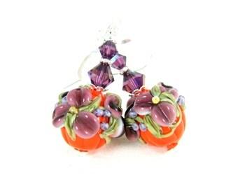 Floral Pumpkin Earrings, Halloween Earrings, Orange Purple Lampwork Earrings, Fall Jewelry, Thanksgiving Earrings, Pumpkin Jewelry, Autumn