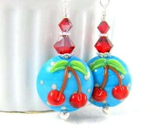 Red Cherry Earrings, Turquoise Blue Red White Polka Dot Earrings, Retro Earrings Rockabilly Earrings Fruit Lampwork Earrings Dangle Earrings