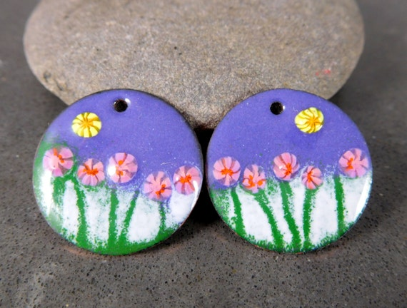 Floral Enameled Copper Earring Charms