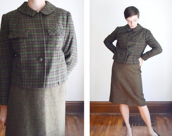 1960s Green Plaid Suit / 60s Plaid Jacket - M