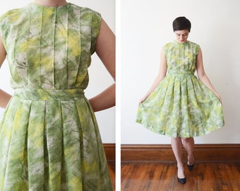 50s/60s Sheer Green Dress - M
