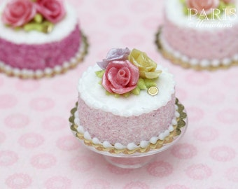 Trio of Roses Cake (Pink, Green, Mauve) - Tiny Miniature Food in 12th Scale for Dollhouse