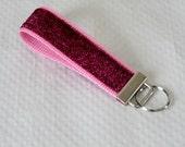 Key Chain / Pink Key Fob / Pink Glitter Key FOB / Fabric KeyChain / Teacher Key Fob / Nurse Keychain / Wristlet / Gifts for Under 10