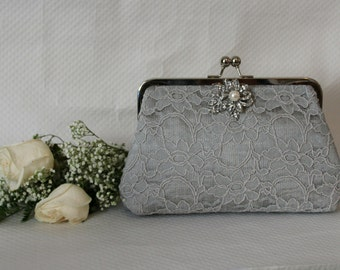 Grey Lace Clutch - Wedding Clutch - Bridal Clutch - Bridesmaid Clutch - Wedding Purse - Grey Purse - Bridesmaids Gift - Isadora Clutch