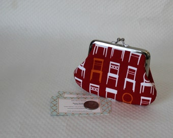 Coin purse - Change Purse - White Chair Orange Chair Coin Purse - Red Change Purse - Kiss Lock Coin Purse