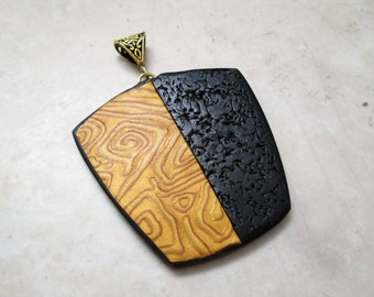 Polymer Clay Pendant, Handmade Black and Gold Pendant, Polymer Clay Pendant, Jewelry, Textured Pendant, Textured, Pendant, Gift for Her