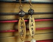 PRAY HARD Prayer Warrior Hand Stamped Vintage ID Tag Earrings ***Last Pair***