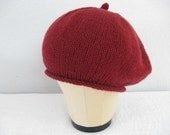 Red Cashmere Beret. Hand Knit Hat in Deep Red. 100 Percent Cashmere. Fall and Winter Accessories. Luxe.