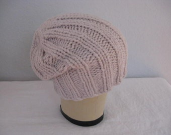 Chunky Slouchy Beanie in Angora and Merino Wool. Hand Knit Ribbed Watch Cap in Oyster.