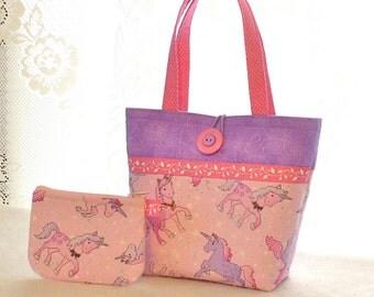Sweet Unicorn Little Girls Purse Coin Purse Set Mini Tote Bag Childs Purse Lavender Purple Pink Timeless Treasures Fabric Handmade MTO