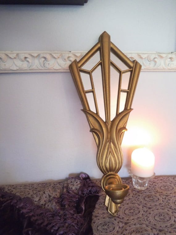 Art Deco Candle Wall Sconces : Vintage Art Deco Wall Sconce Gold Metal Wall candle holder