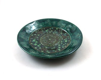 Hecate's  Hekate's Wheel and Key Offering Bowl Handmade Ceramic Pottery