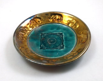 ELEPHANT Raku Bowl Handmade Pottery