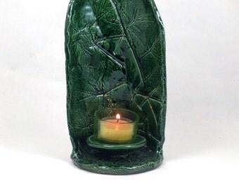 Candle Holder  Leaves Design Handmade Ceramic Pottery