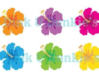 Hawaiian Flower Clipart Set
