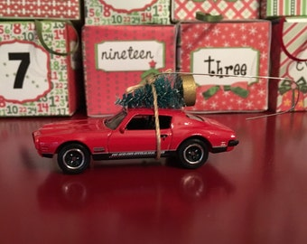 Pontiac Firebird Carrying Christmas Tree Ornament