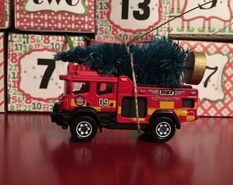 SALE!!!  Firetruck Carrying Christmsas Tree Ornament