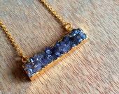 Amethyst druzy bar necklace