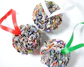 50 percent off - ornament - made from recycled magazines, holiday gift, round ornament, paper, recycled, christmas, ball ornament