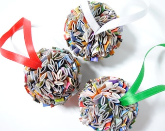 hanging ball ornament - made from recycled magazines, holiday gift, round ornament, paper, recycled, christmas, ball ornament