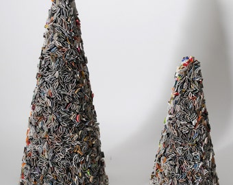 holiday trees -  made from recycled magazines, home decor, recycled magazines, 2 sizes , colorful, unique gift, table decor