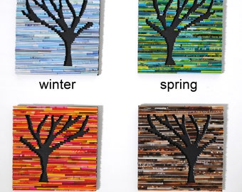 4 seasons bright and colorful TREE wall art- made from recycled magazines, colorful, unique, forest, winter, spring, summer, fall, modern