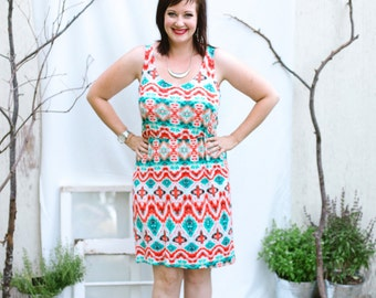 Summer Dress Women-Tribal Print Dress-Orange Dress-Teal Dress-Boho Beach Dress