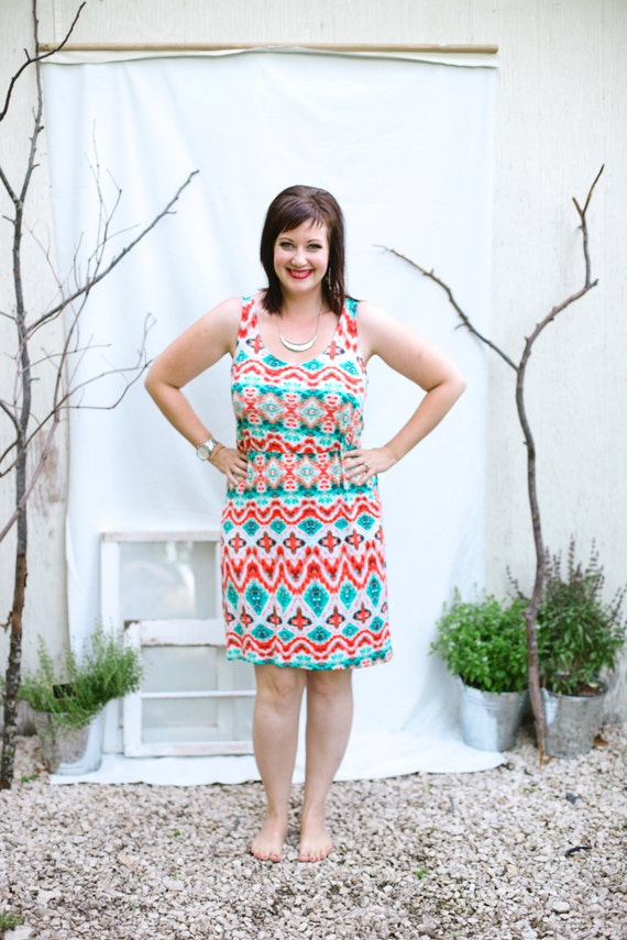 Ikat Summer Dress - Teal/Orange