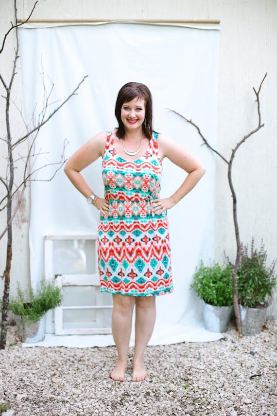 Ikat Summer Dress - Teal/Orange