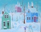 "White Frosting Folk Art Print Large Size 11"" x 14"" or 12"" x 16"""