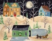 "Christmas Eve Sleigh Ride Folk Art Print Large Size 11"" x 14"" or 12"" x 16"""