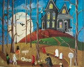 """The House at the End of the Road Folk Art Print Large Size 11"""" x 14"""""""